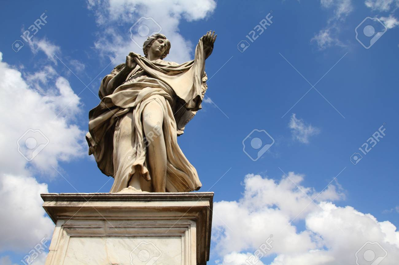 Rome, Italy. One of the angels at famous Ponte Sant' Angelo bridge. Angel with Sudarium statue by Cosimo Fancelli. Stock Photo - 16711524