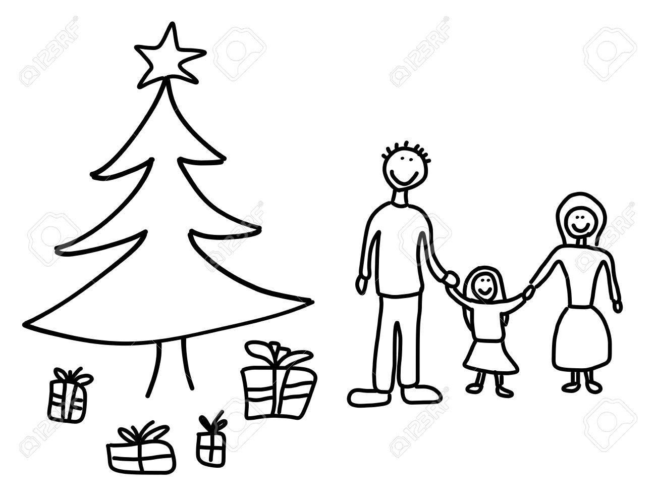 Glückliche Familie: Mutter, Vater Und Kind. Weihnachten Zu Hause ...