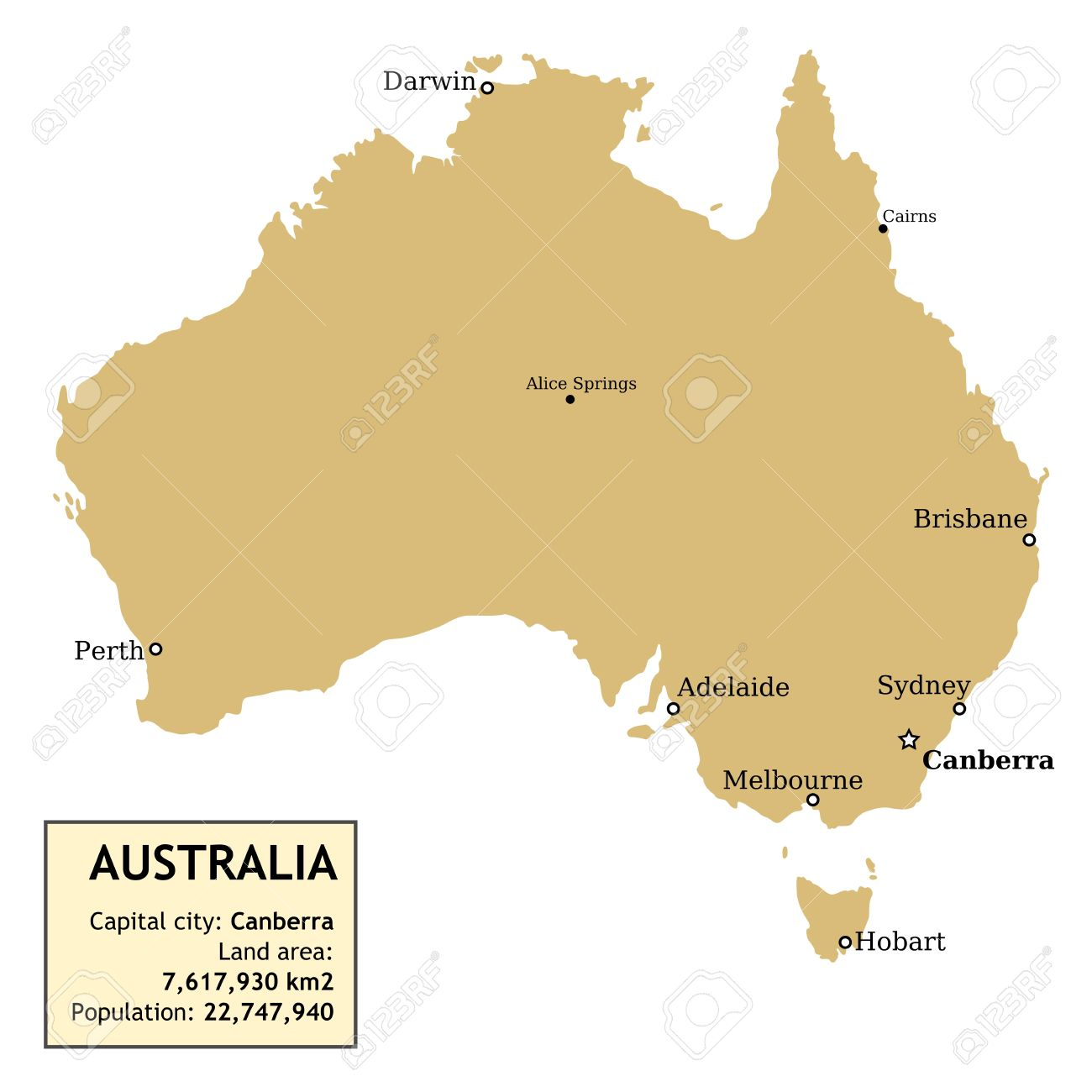Map Of Australia With All Important Cities And Information Data – Map of Australia and Cities