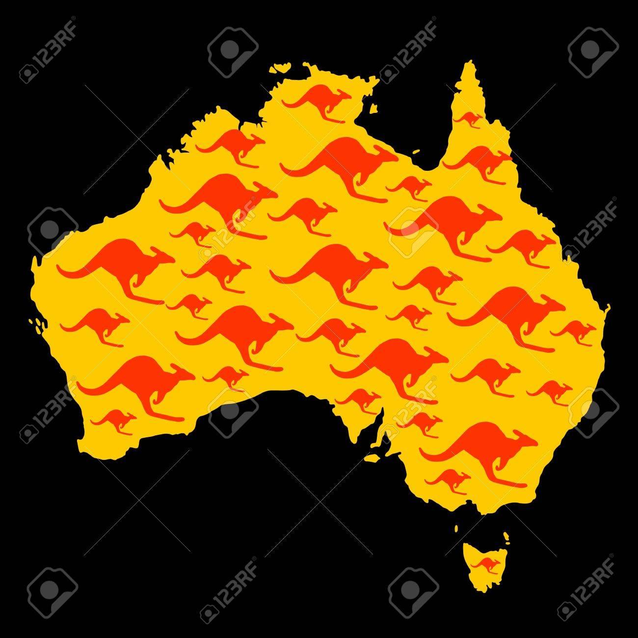 Map Of Australia With Kangaroo Shape Pattern Royalty Free - Australia map kangaroo