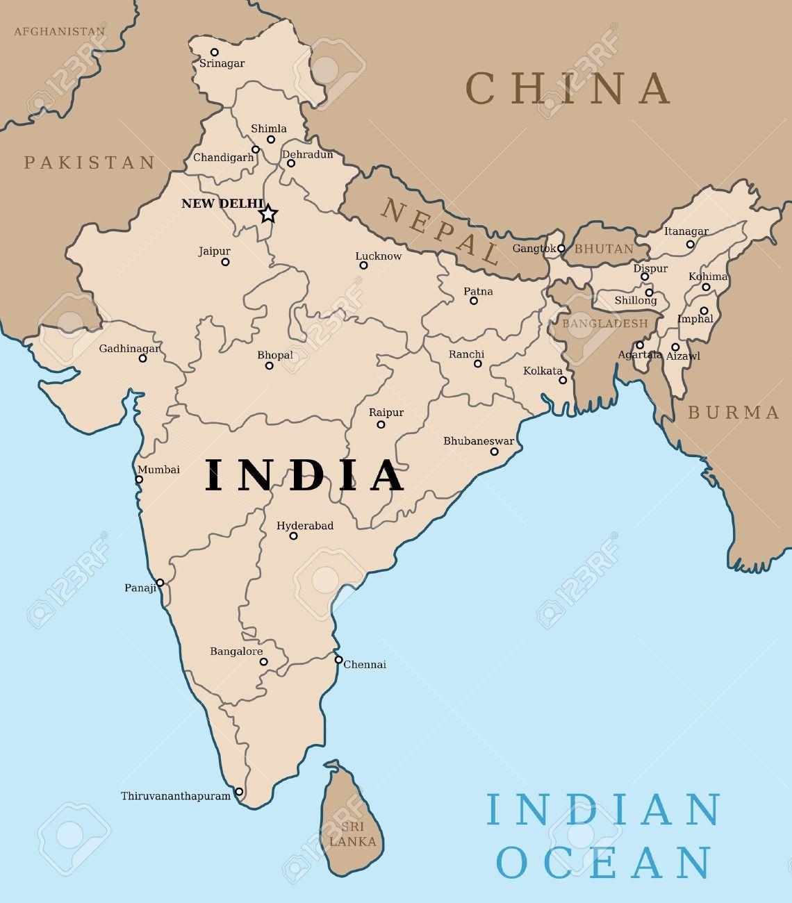 Carte Inde Principales Villes.Carte De L Inde Decrire La Carte Du Pays Avec Illustration Des Grandes Villes Capitales D Etat