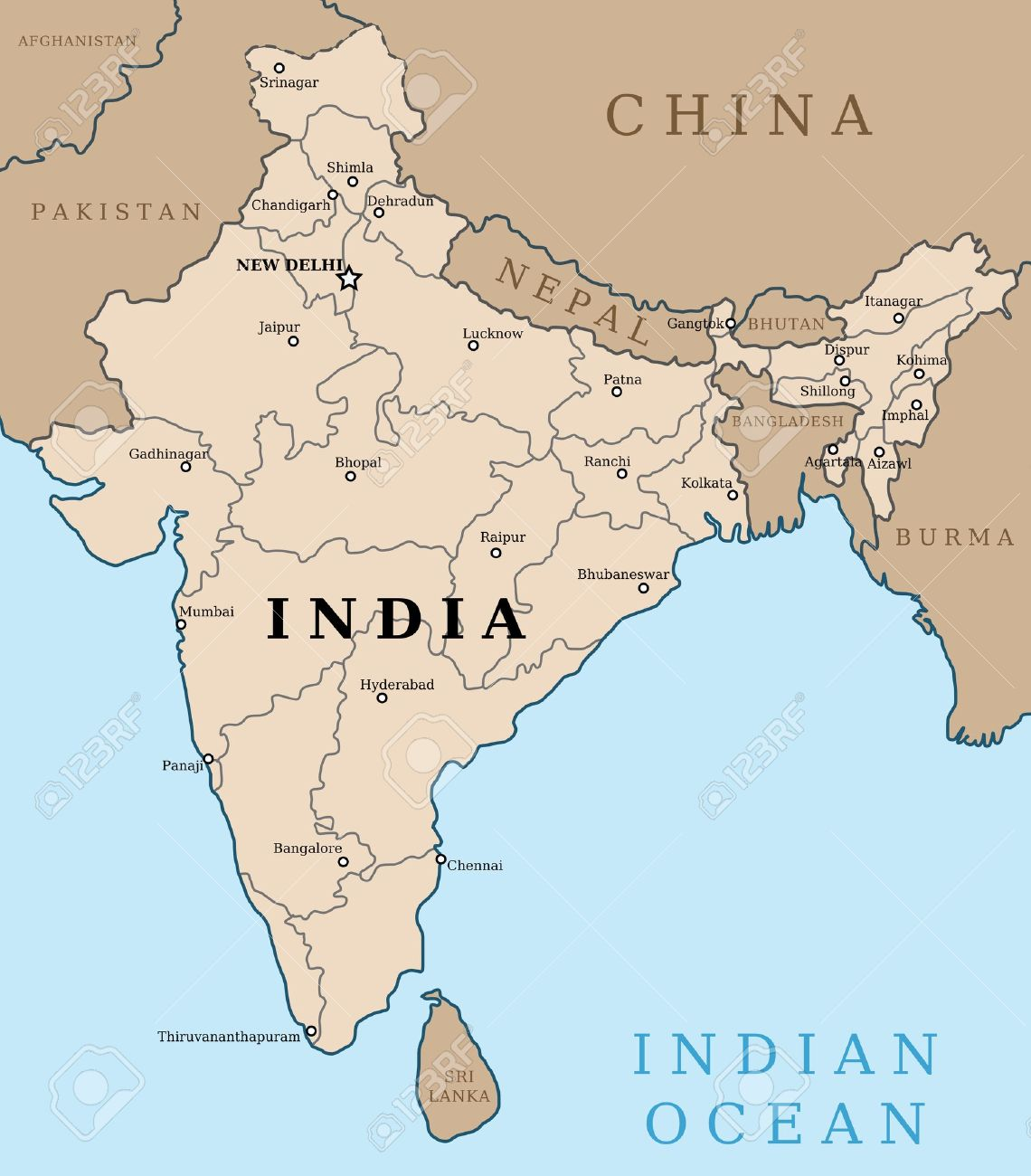 Map Of India. Outline Illustration Country Map With Major Cities (state  Capitals).