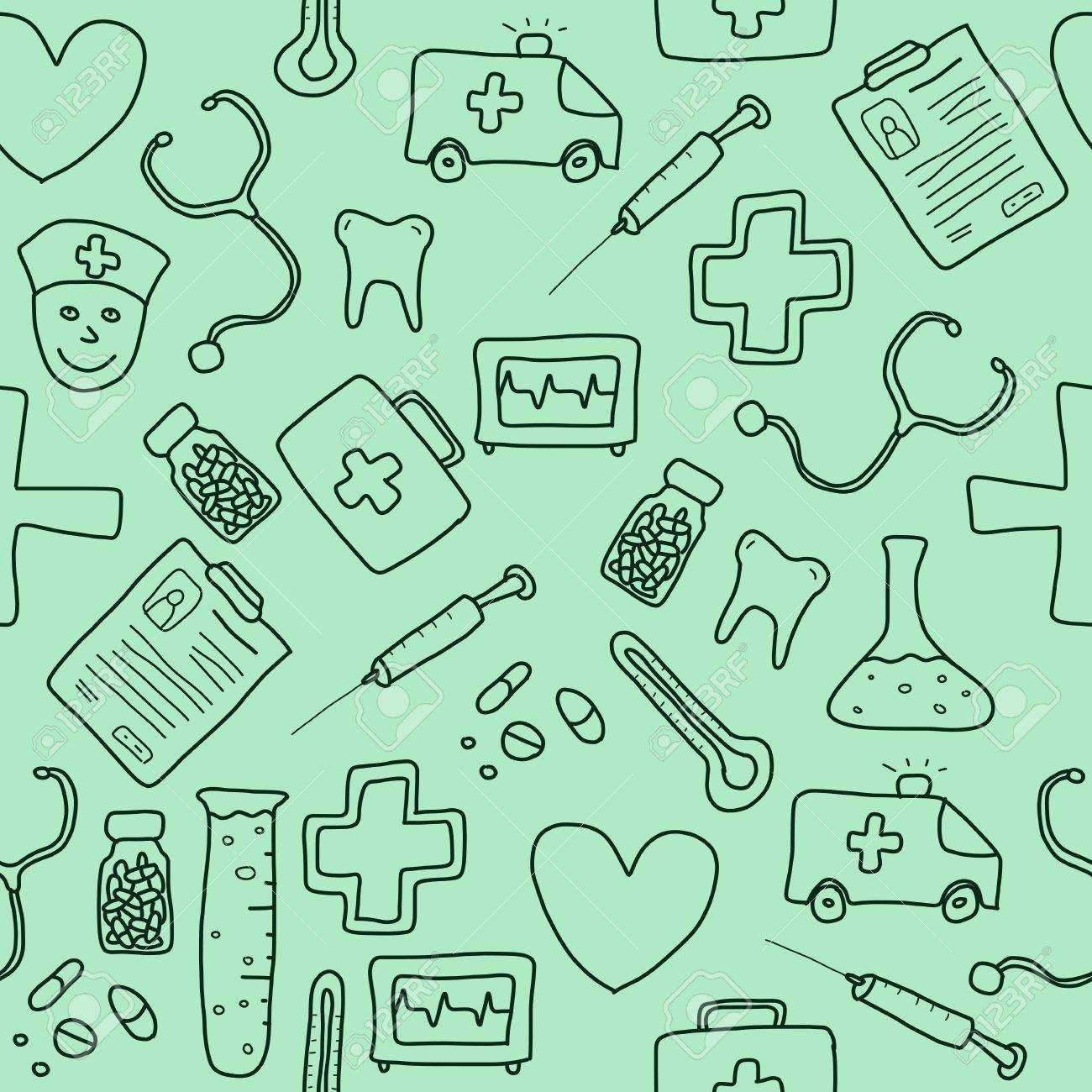 Seamless pattern with healthcare, medicine and pharmacy icons and symbols. Medical background doodle. Stock Vector - 17376223