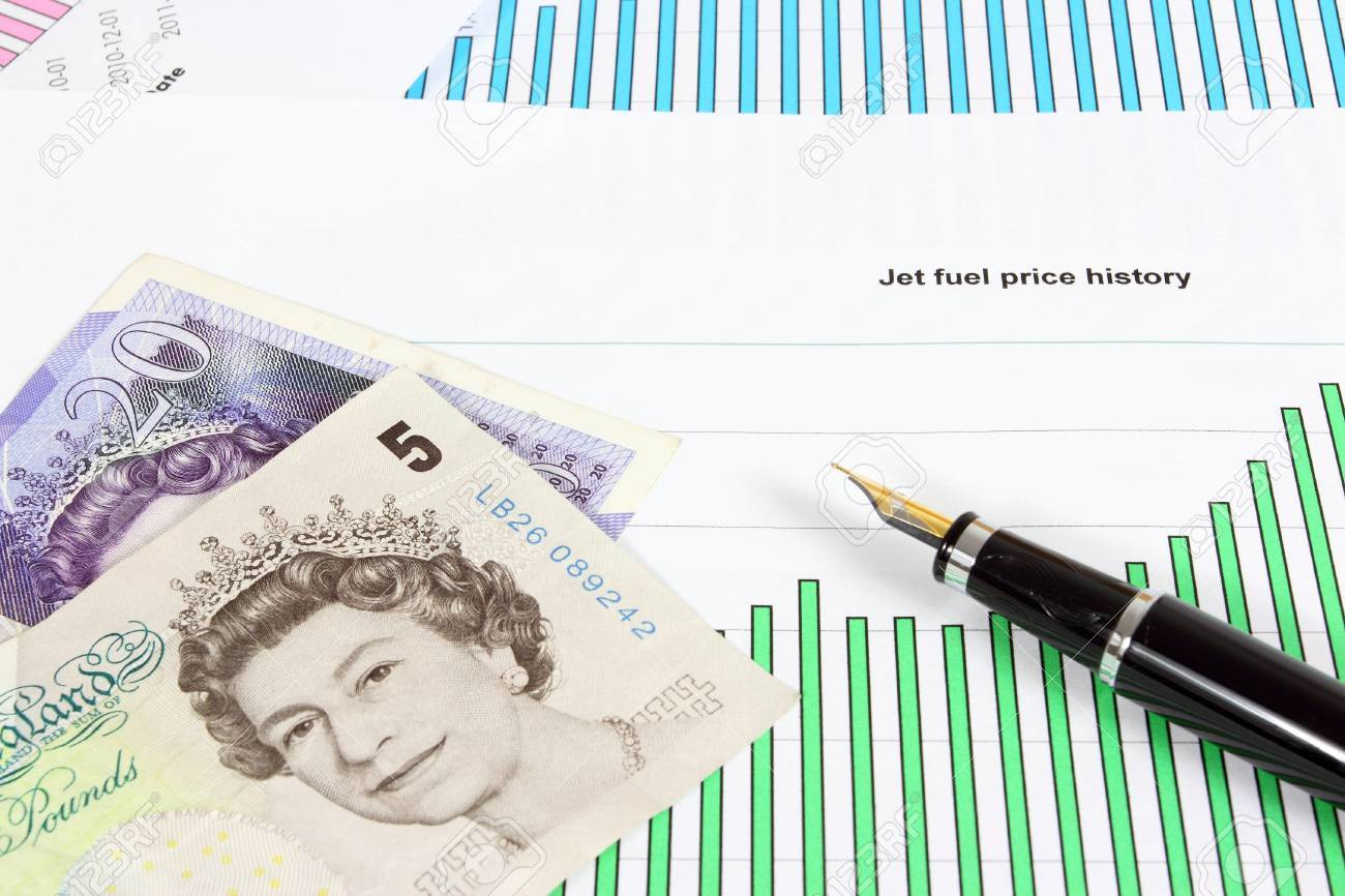 Business objects - jet fuel price chart, British pounds and ink pen. Financial concept - aviation industry problems. Stock Photo - 17480569