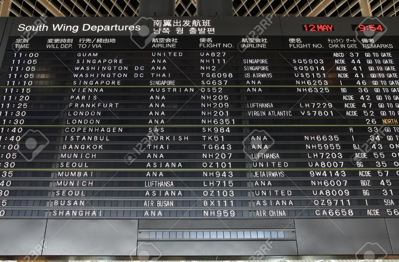 TOKYO - MAY 12: Departures board on May 12, 2012 at Narita International Airport, Tokyo. Narita was the 2nd busiest airport in Japan and 50th busiest worldwide in 2011 with 28.1 million passengers. Stock Photo - 17522822
