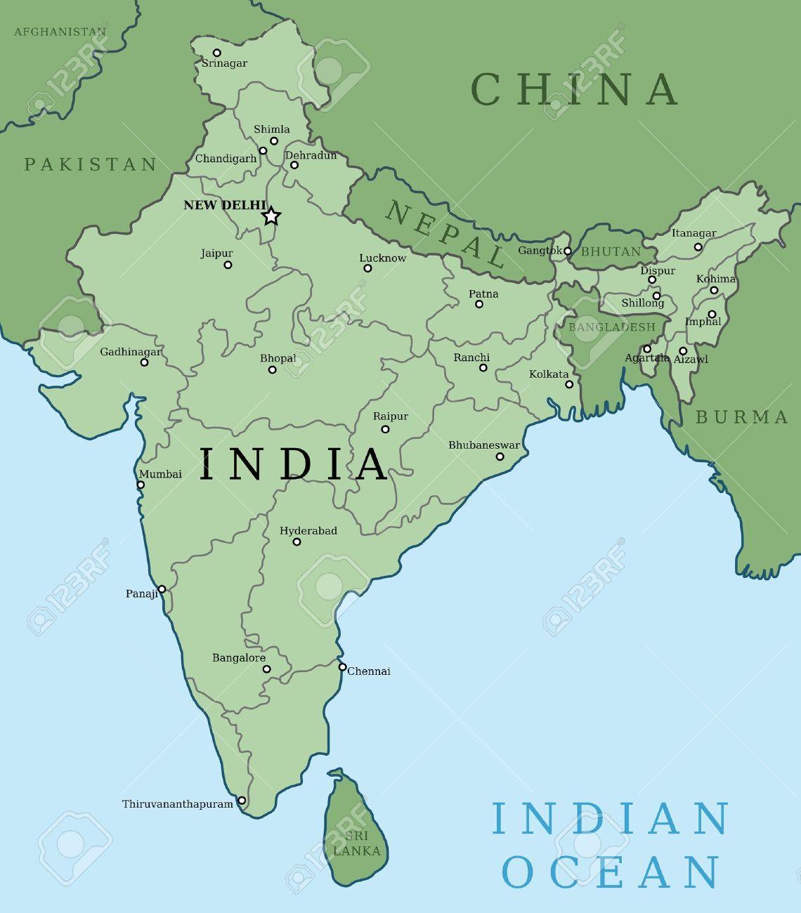 Mapa De India. Esquema Mapa, Ilustración, País Con Grandes Ciudades ...