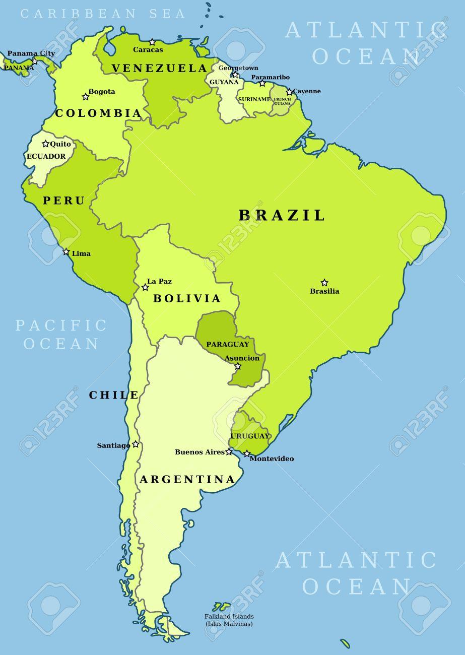 Mapa De Sudamerica Paises.Mapa De America Del Sur Division Politica Ciites Paises Y Capitales Los Paises Son Objetos Separados Puede Cambiar El Color De Todos Los Paises