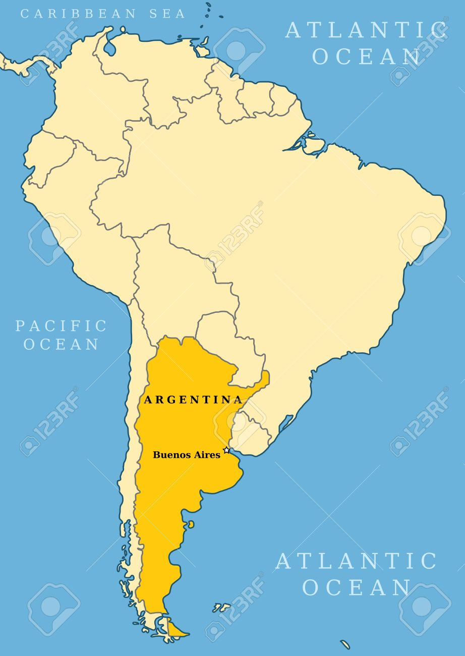 Argentina Locator Map Country And Capital City Buenos Aires