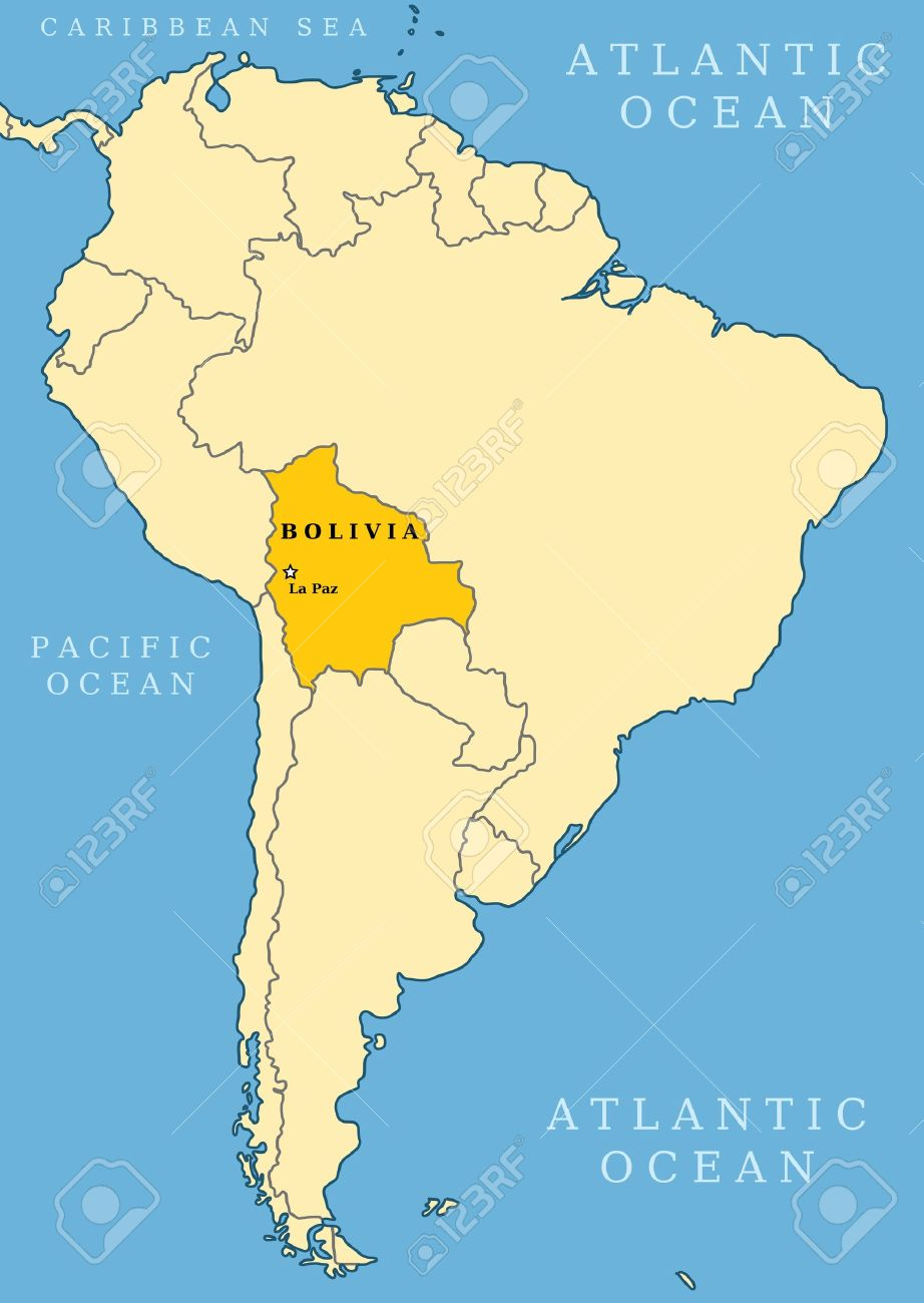Bolivia Locator Map Country And Capital City La Paz Map Of
