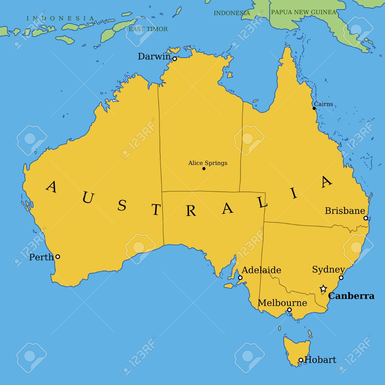 Map Of Australia With All Important Cities And Administrative - Australia map with cities
