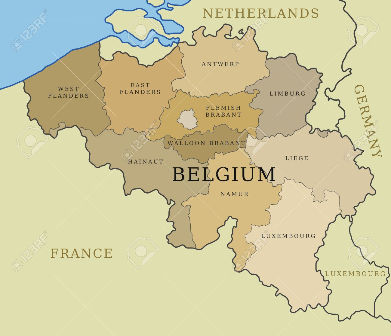 Belgium Map With Administrative Division Into Provinces Royalty – Belgiummap