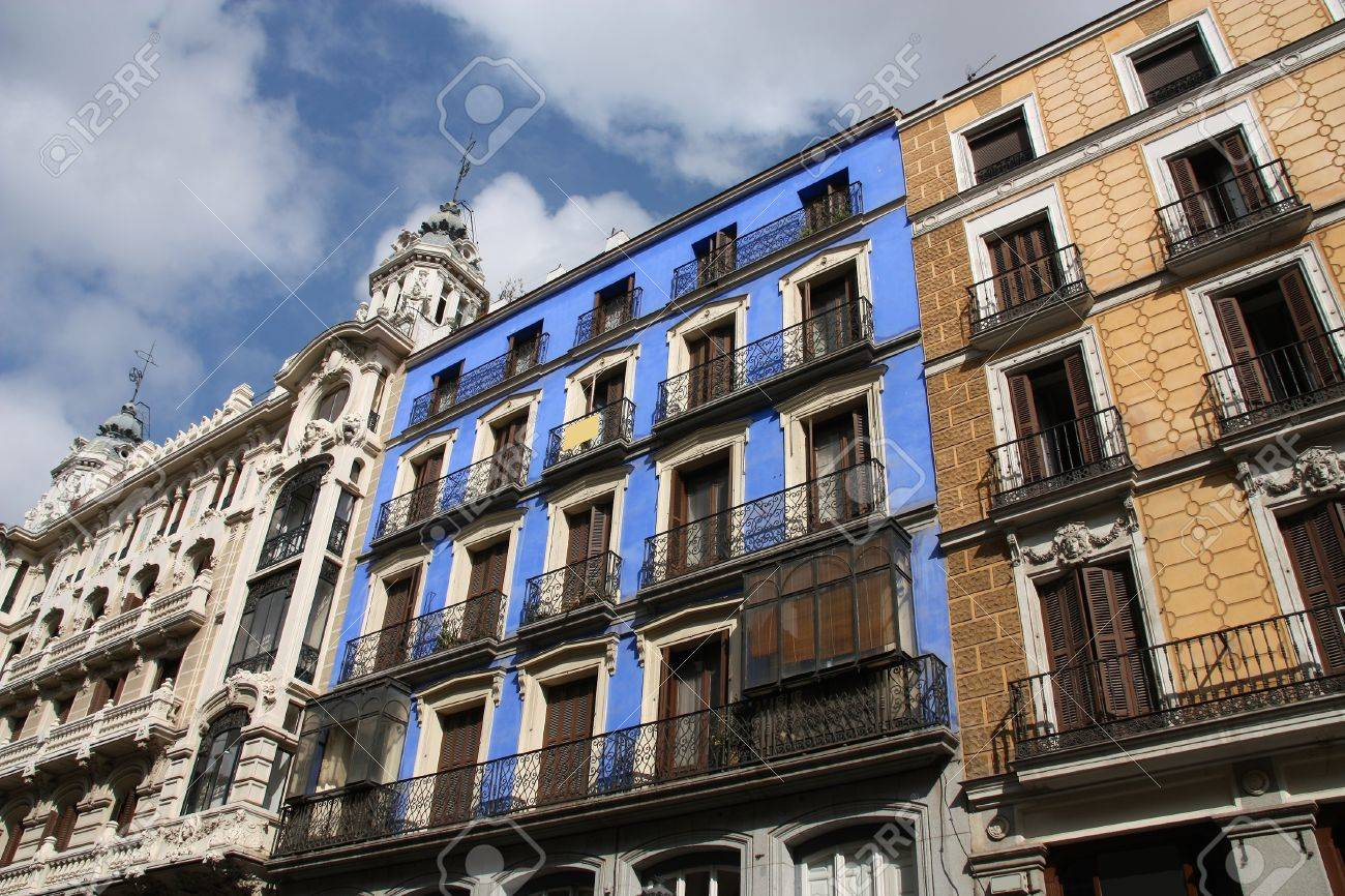 small old apartment building. Mediterranean architecture in Spain Old apartment buildings famous Calle  Mayor Madrid Stock Photo Architecture In Apartment Buildings