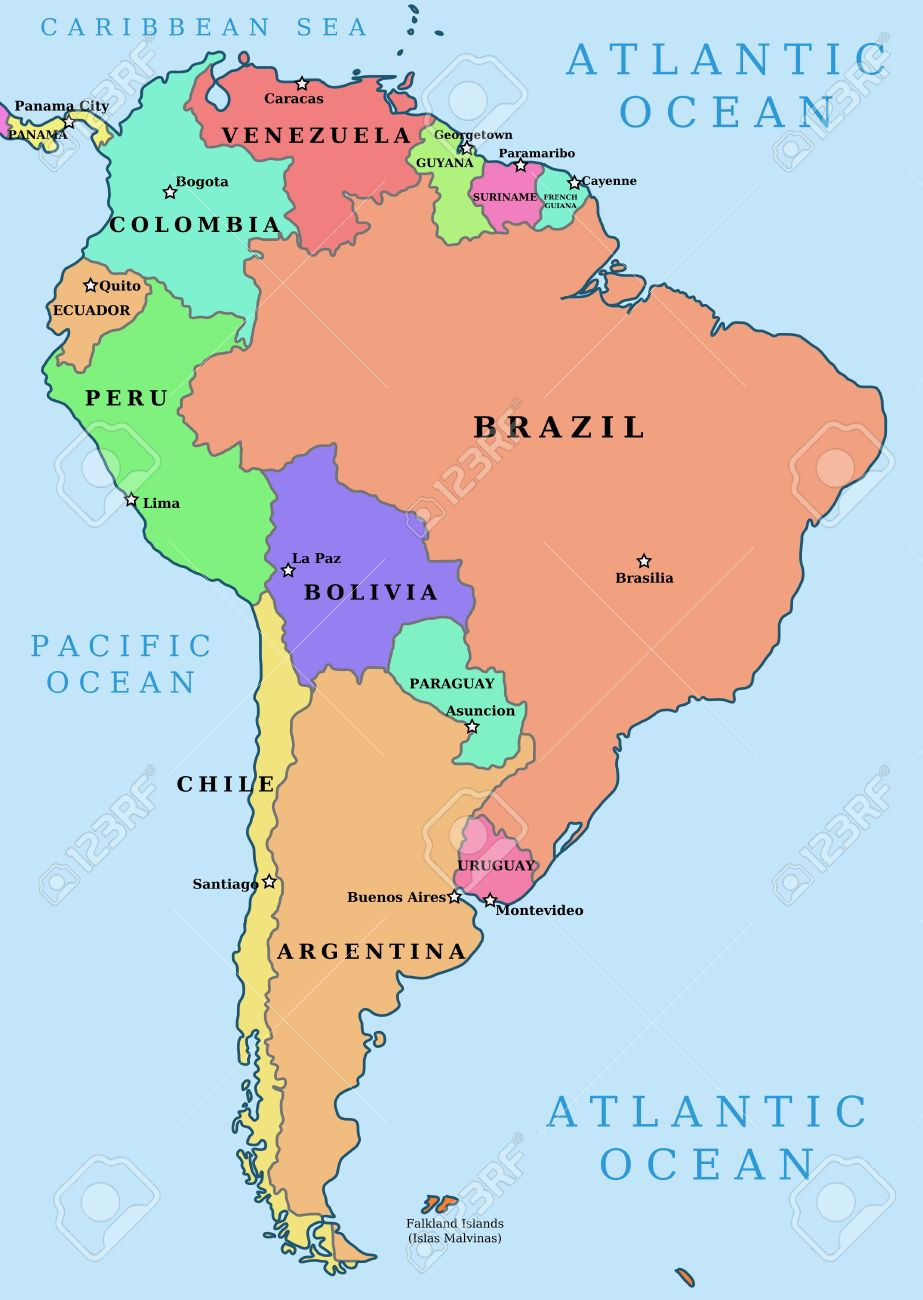 Map Of South America Political Division Countries And Capital - Sur america map