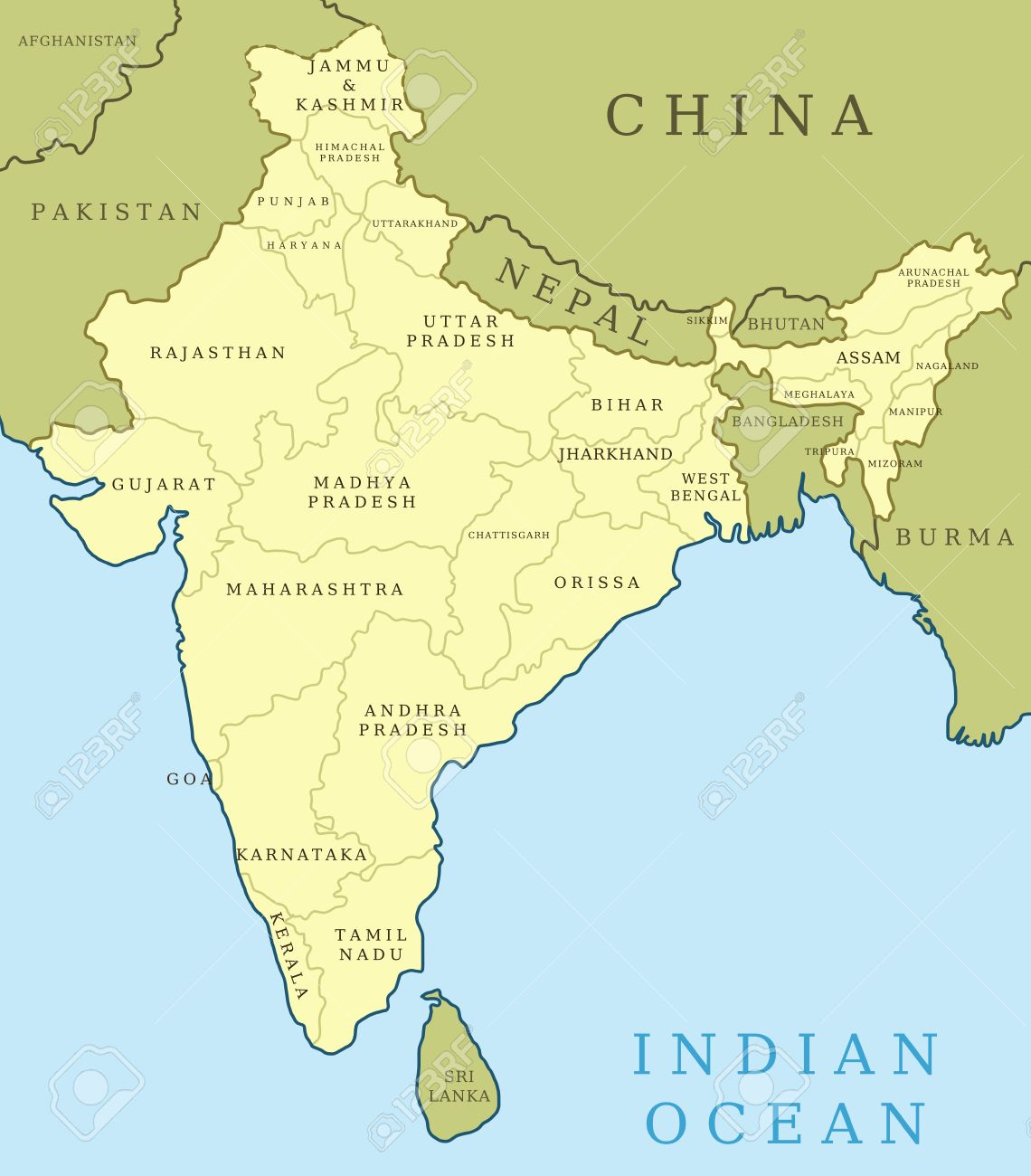 Map of India. Outline illustration country map with state names.. India Map With State Borders on india map with lakes, india map with important cities, india map with capitals, india map with roads, india map with rivers, india map with airports, india map with railroads, india map with mountain ranges,