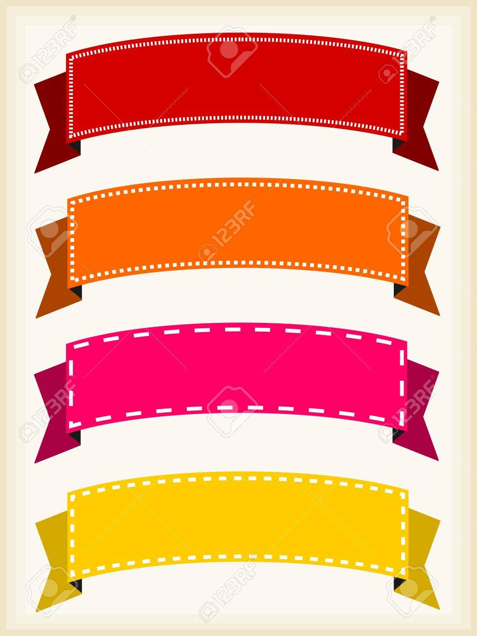 colorful ribbon banners - empty banner template with copyspace, Powerpoint templates