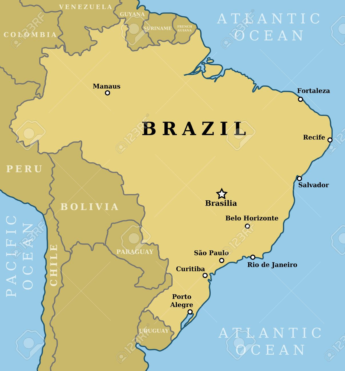 Brasilia Brazil Map Map Of Brazil. Country Outline With 10 Largest Cities Including