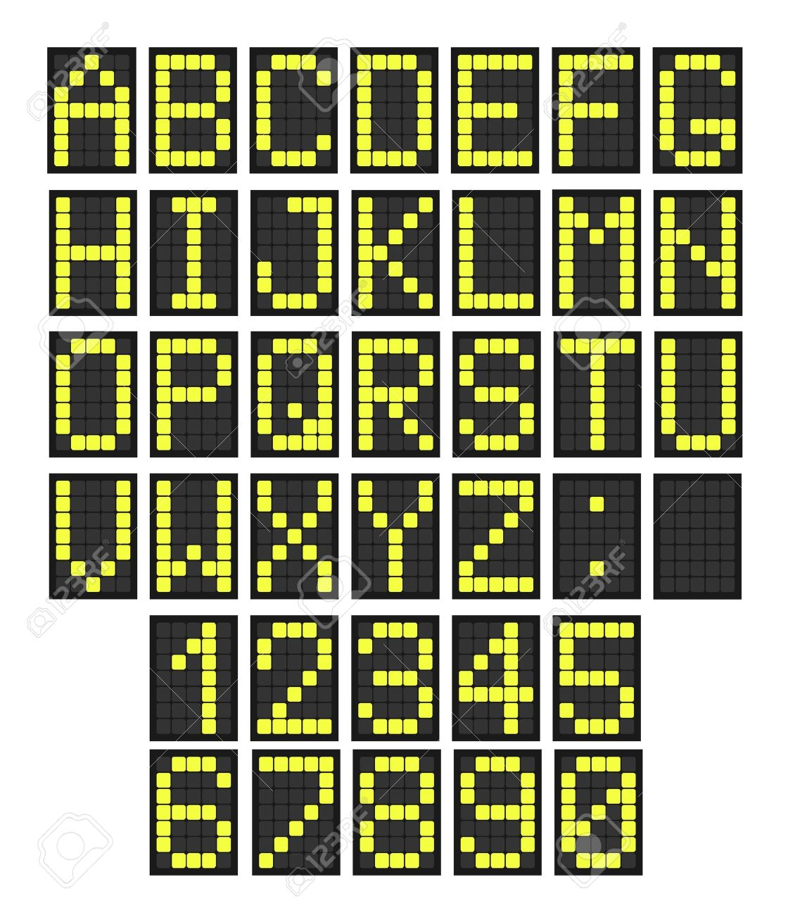 Font - letters and numbers imitating a digital display board