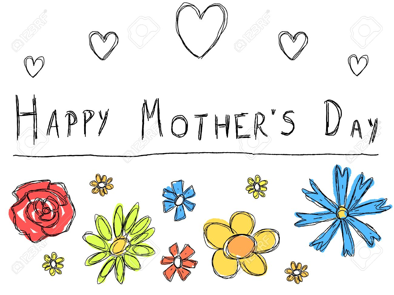 happy mother s day greeting card with doodle scrapbook flowers