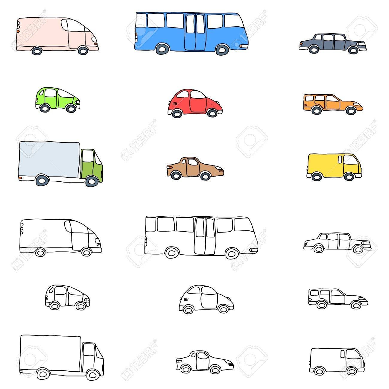 Doodle cartoon icon set - vehicle collection with cars, vans, trucks and a bus Stock Vector - 19974332
