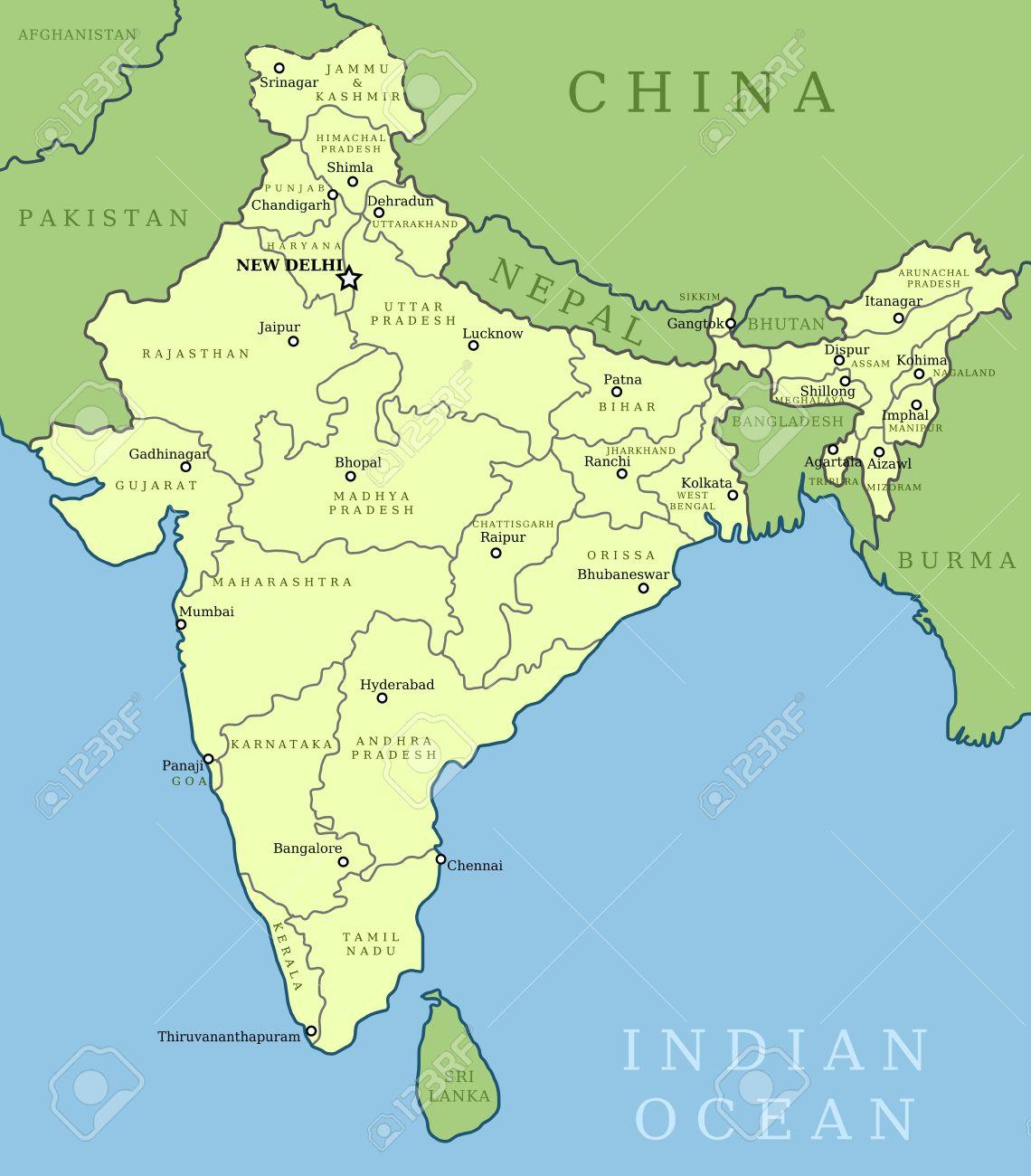 Mapa De India. Ilustración De Contorno Mapa Del País Con Nombres De ...