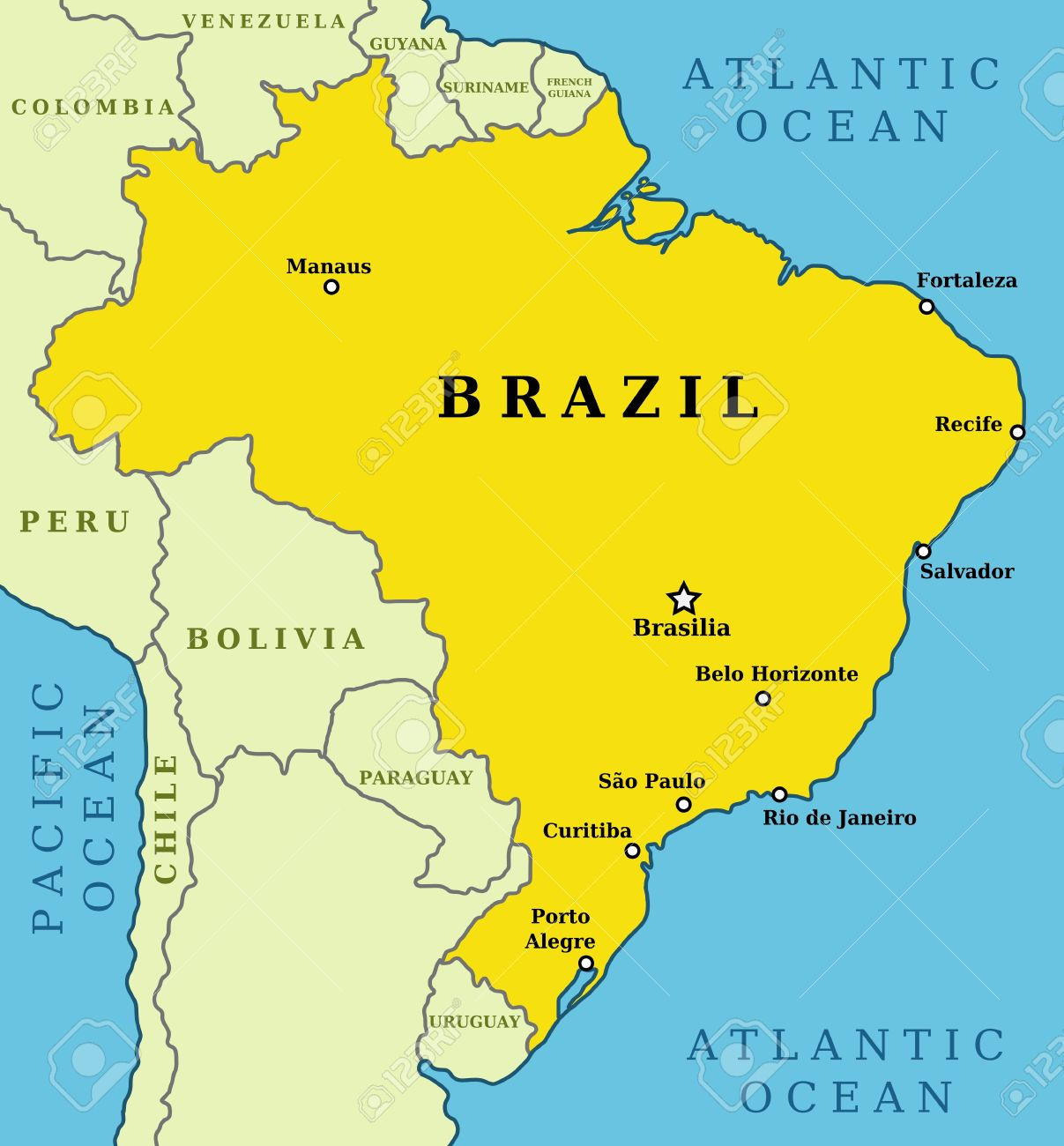 Capital Of Brazil Map Map Of Brazil. Country Outline With 10 Largest Cities Including