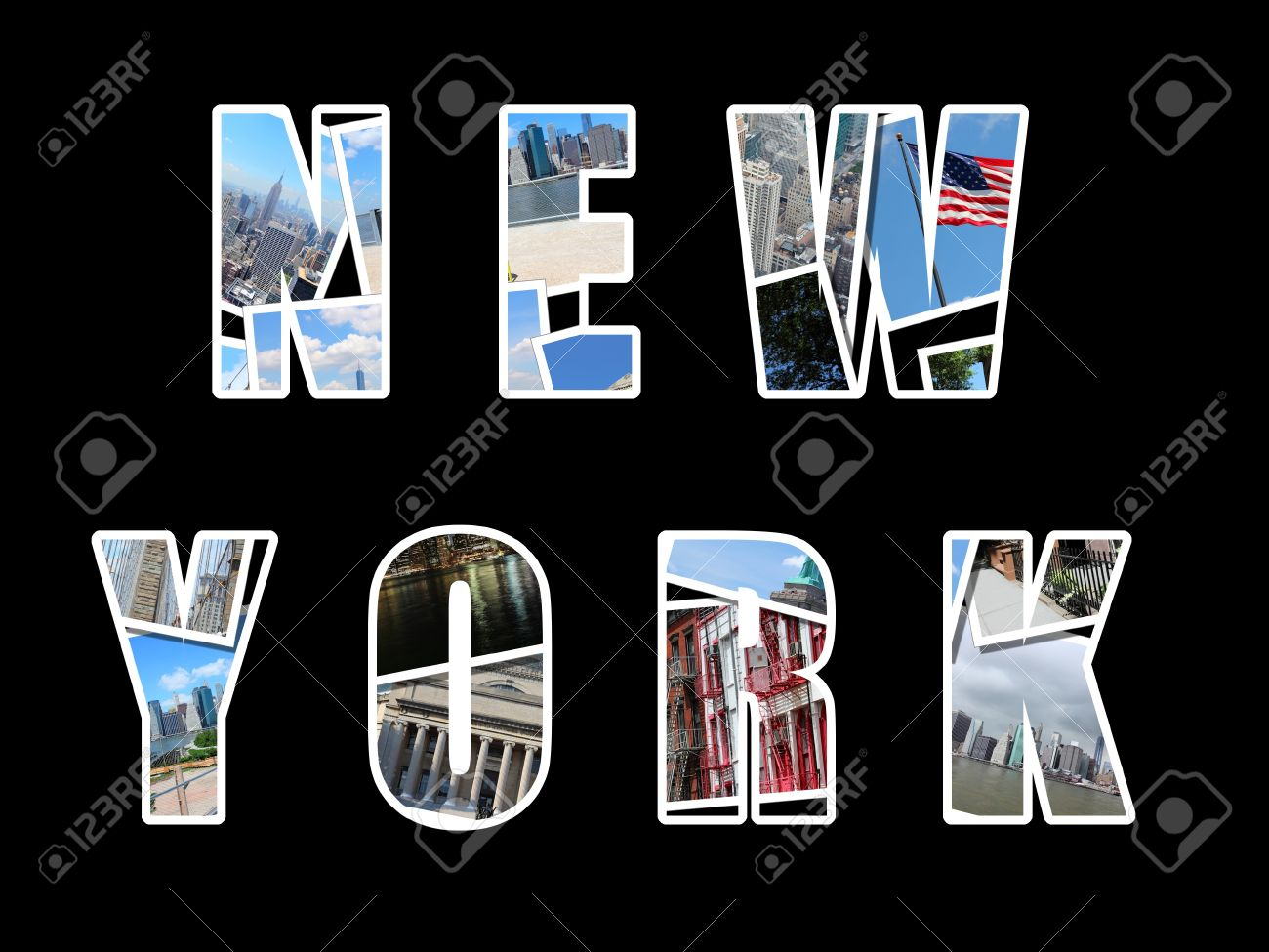 letter collage from new york city usa collage includes major landmarks like brooklyn bridge