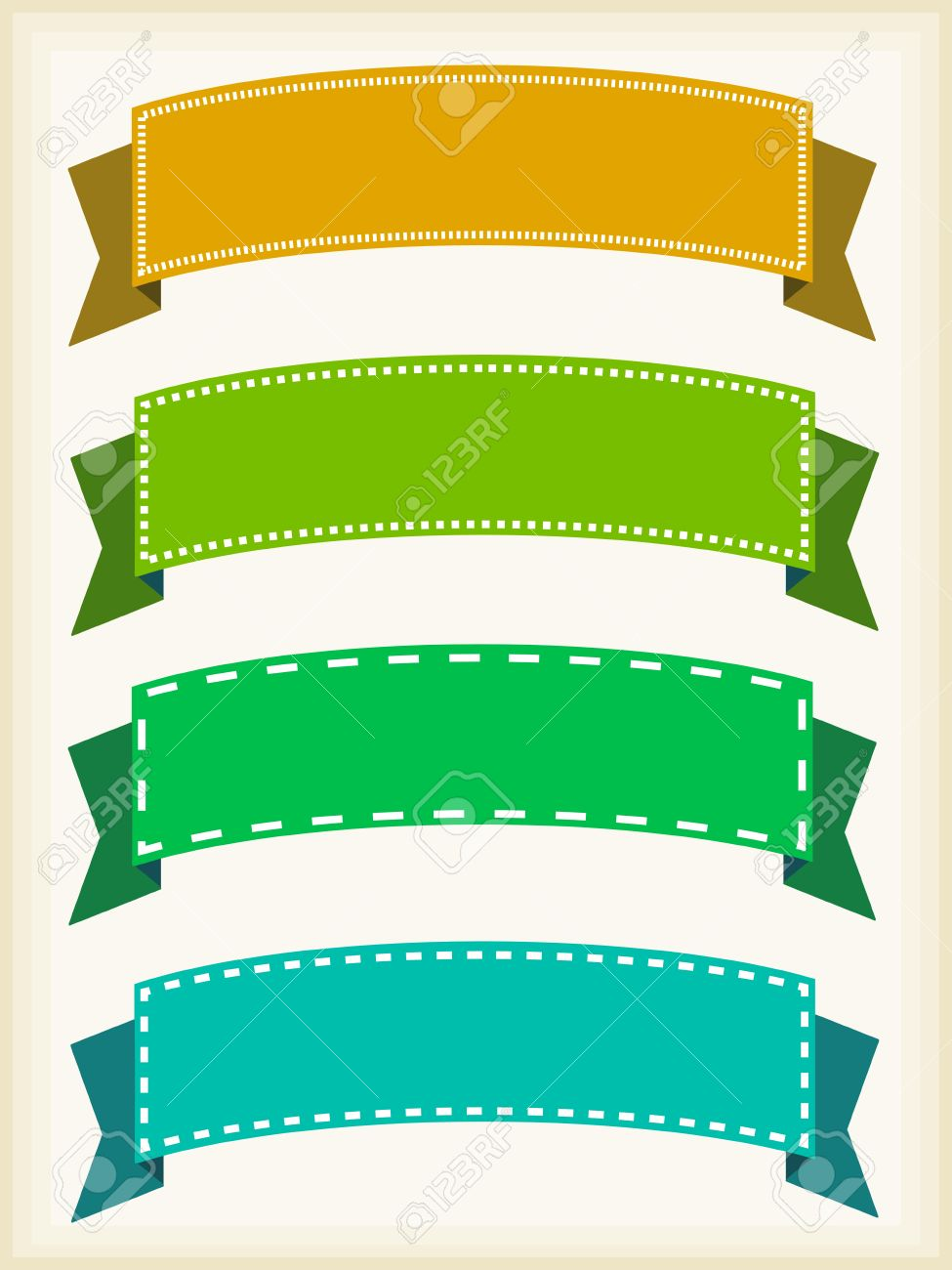 colorful ribbon banners empty banner template with copyspace