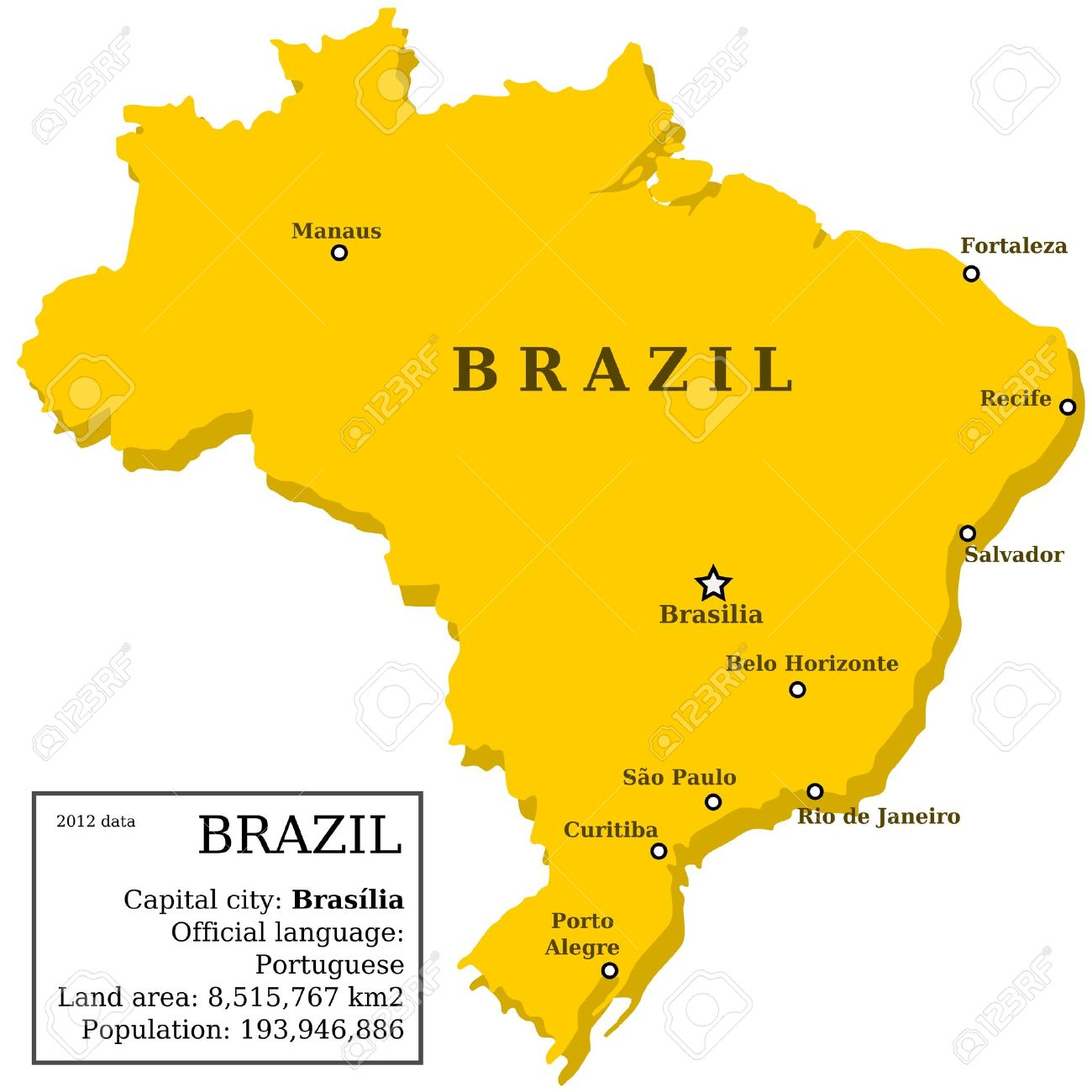 Map Of Brazil Country Outline With Information Box And Largest - Brazil map