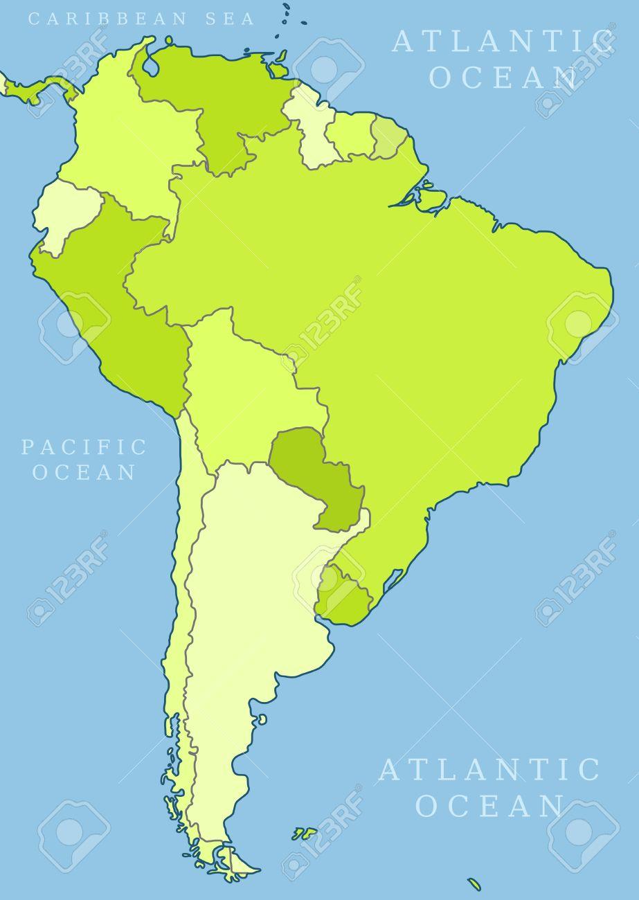 America Del Sud Cartina Politica.Mappa Di Sud America Divisione Politica I Paesi Sono Oggetti Separati E Possibile Cambiare Il Colore Di Ogni Paese