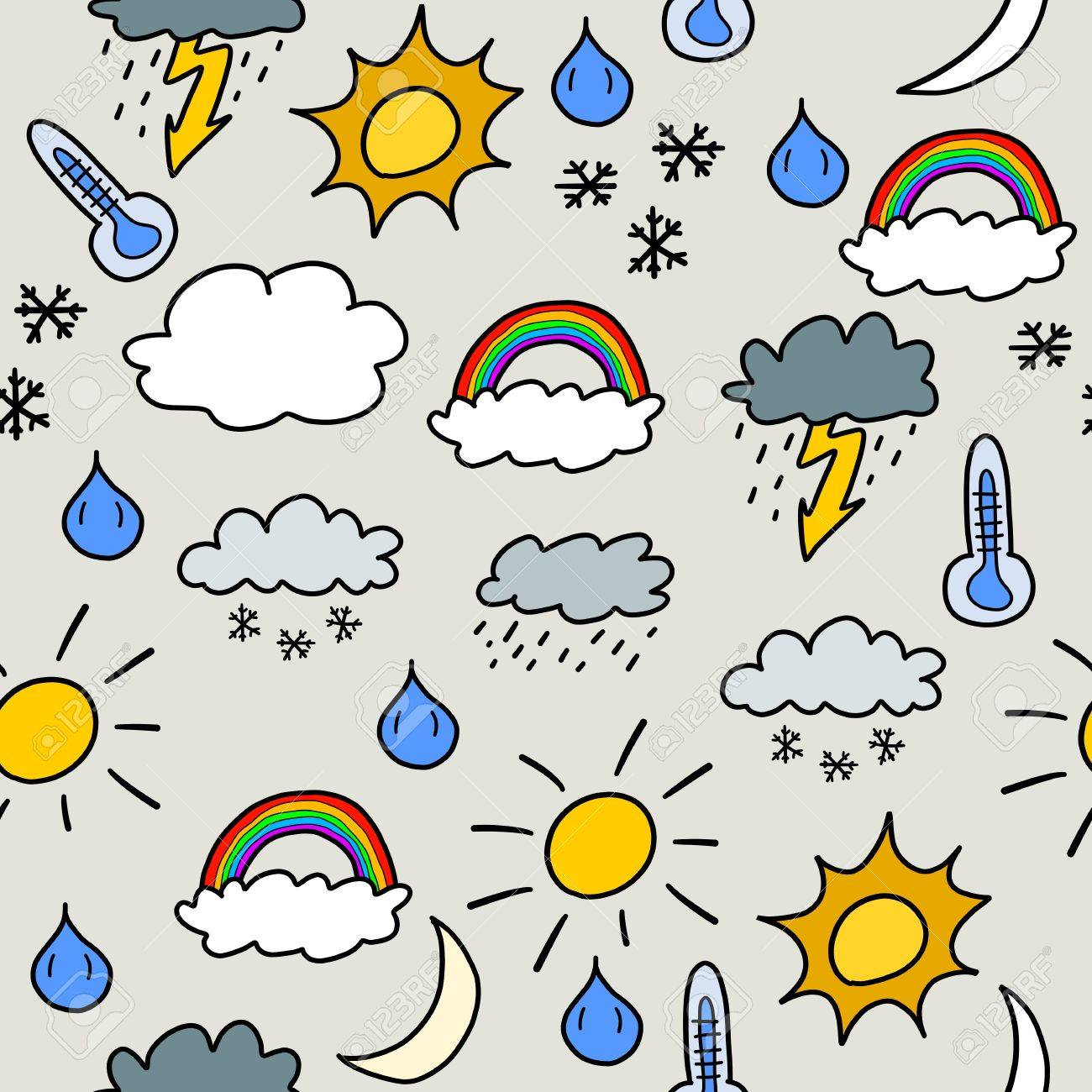 Doodle seamless background texture illustration - weather symbols collection with suns, clouds, storms and snow Stock Vector - 22820250
