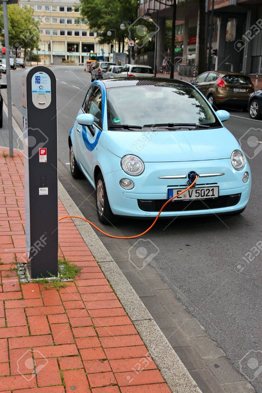 Dortmund Germany July 15 Electric Car Is Being Charged On