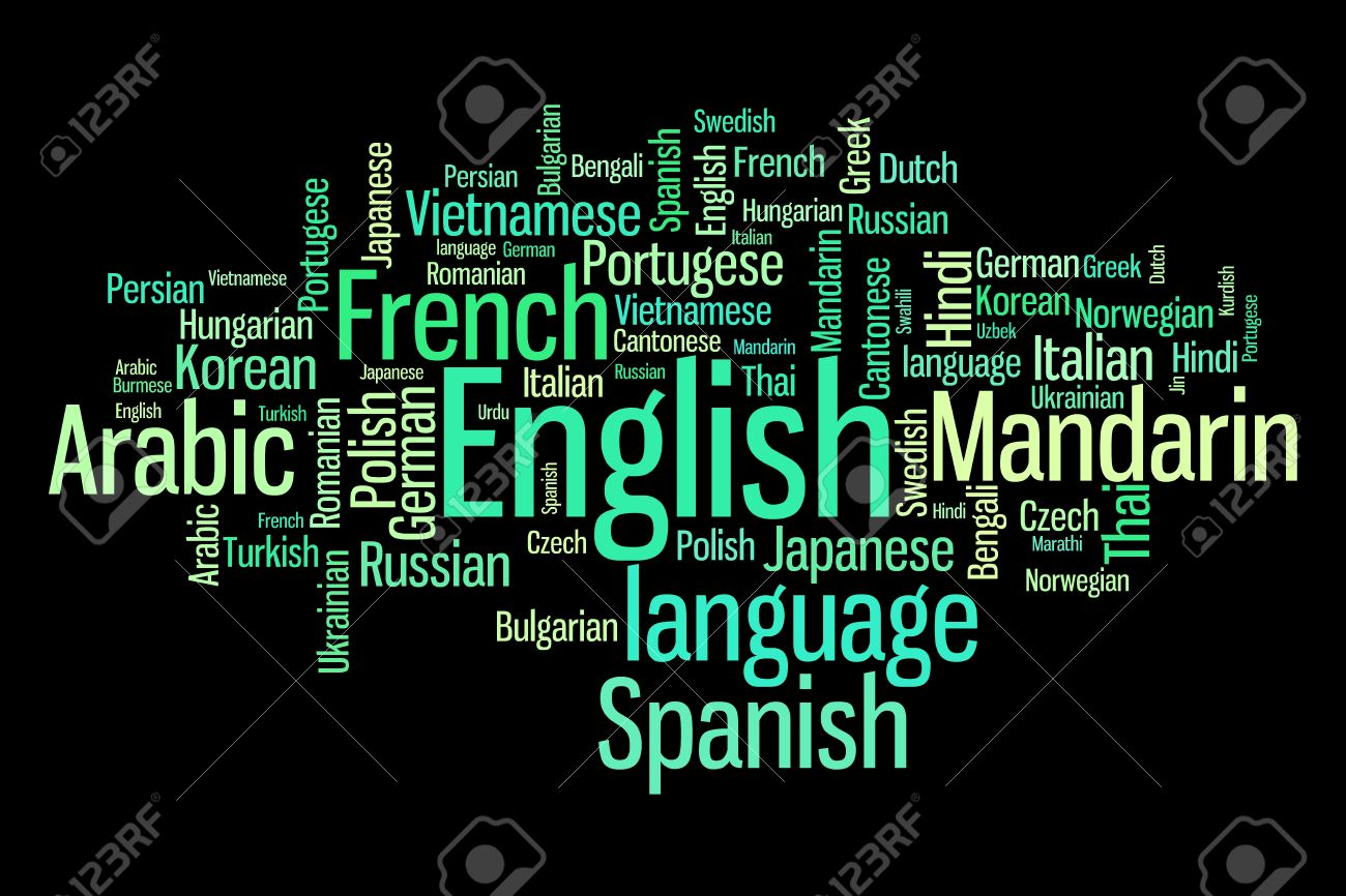 languages of the world word cloud illustration word collage stock