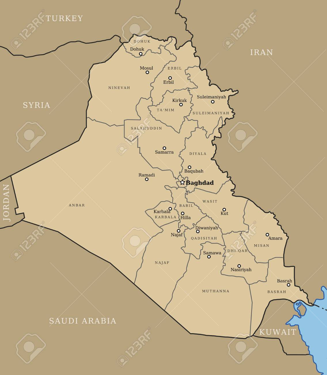 Map Of Iraq With Provinces (governorates) And Major Cities: Baghdad ...