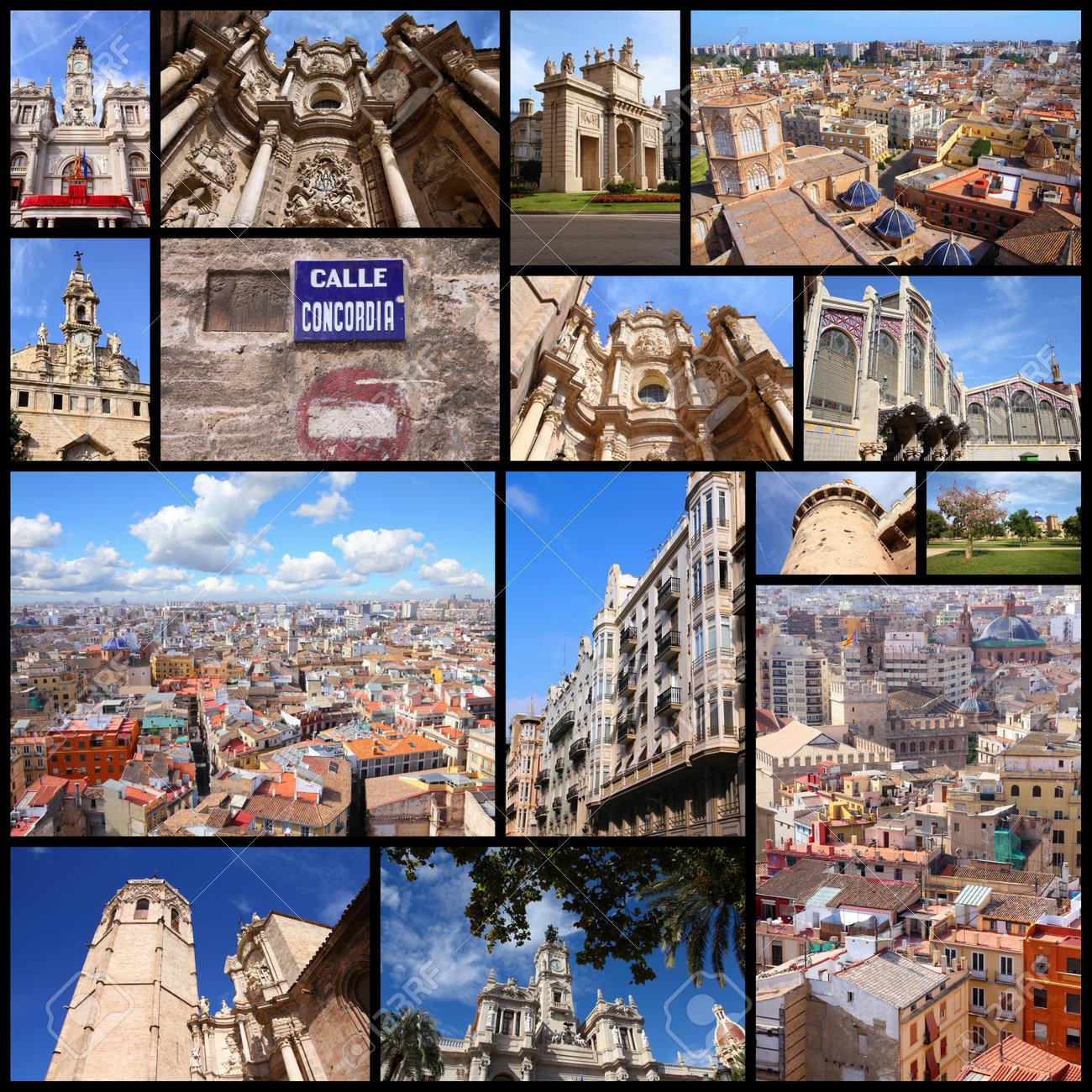 Foto Collage De Valencia, España. Collage Incluye A Los Principales ...