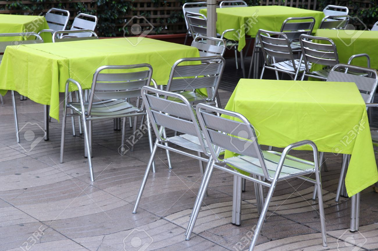 contemporary cafe furniture. Generic Contemporary Restaurant In Barcelona, Spain. Outdoor Tables With Stainless Steel Chairs. Stock Cafe Furniture R