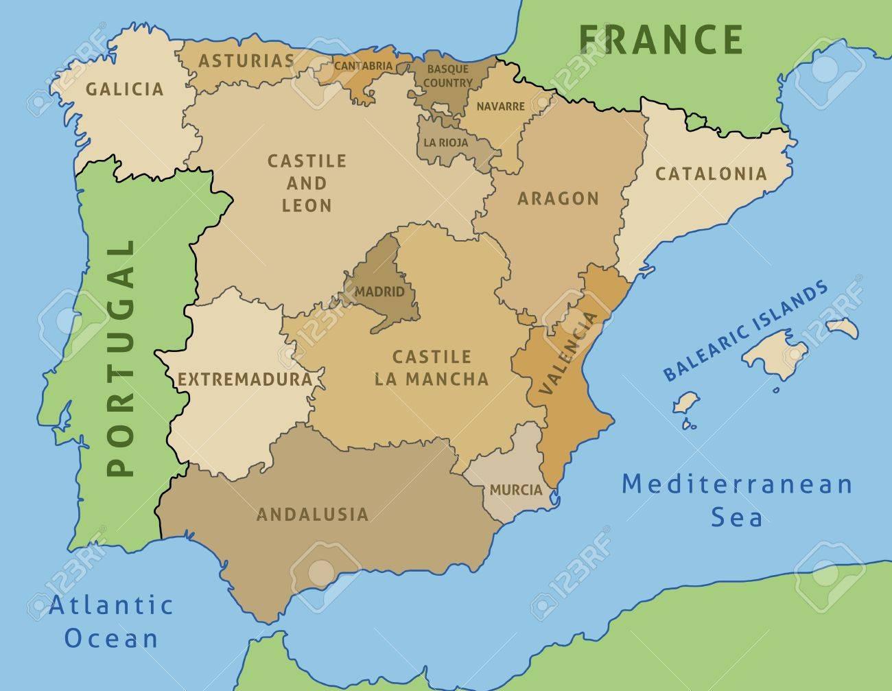 Map Of Spain Outline Illustration Country Map Autonomous