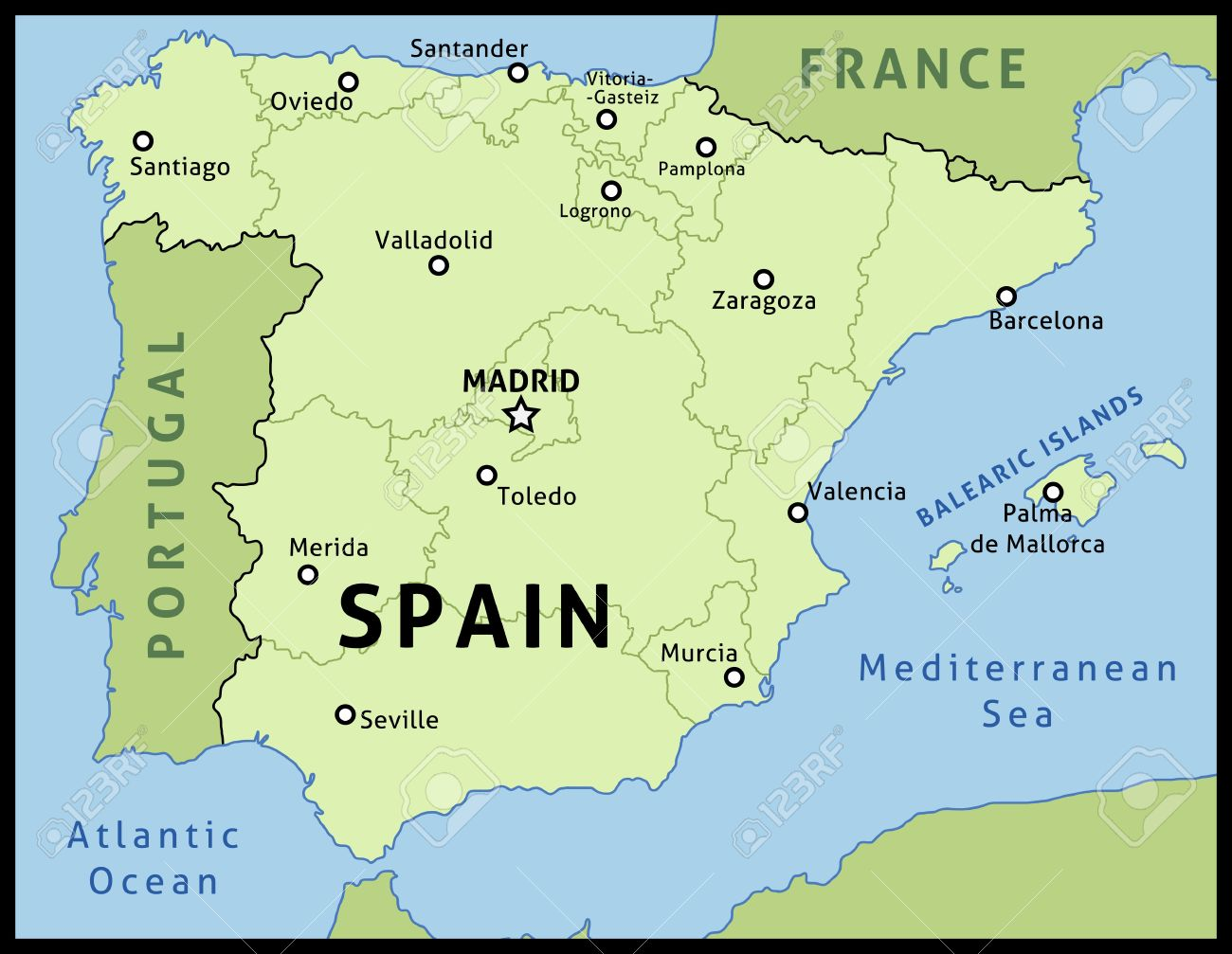 Map Of Spain Labeled.Map Of Spain Outline Illustration Country Map With Main Cities