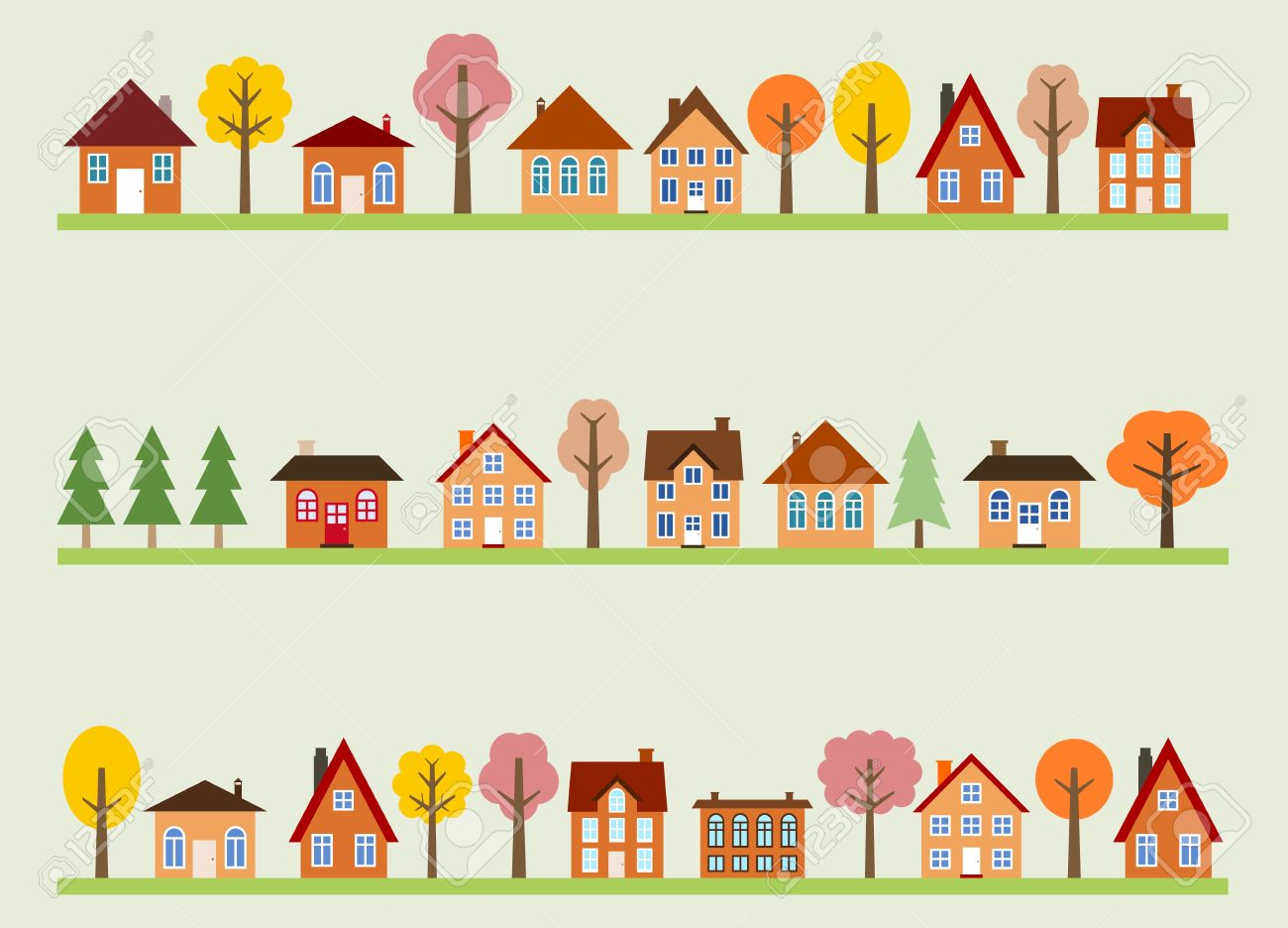 Small town street view with cartoon homes and autumn trees. European village street. - 34230977