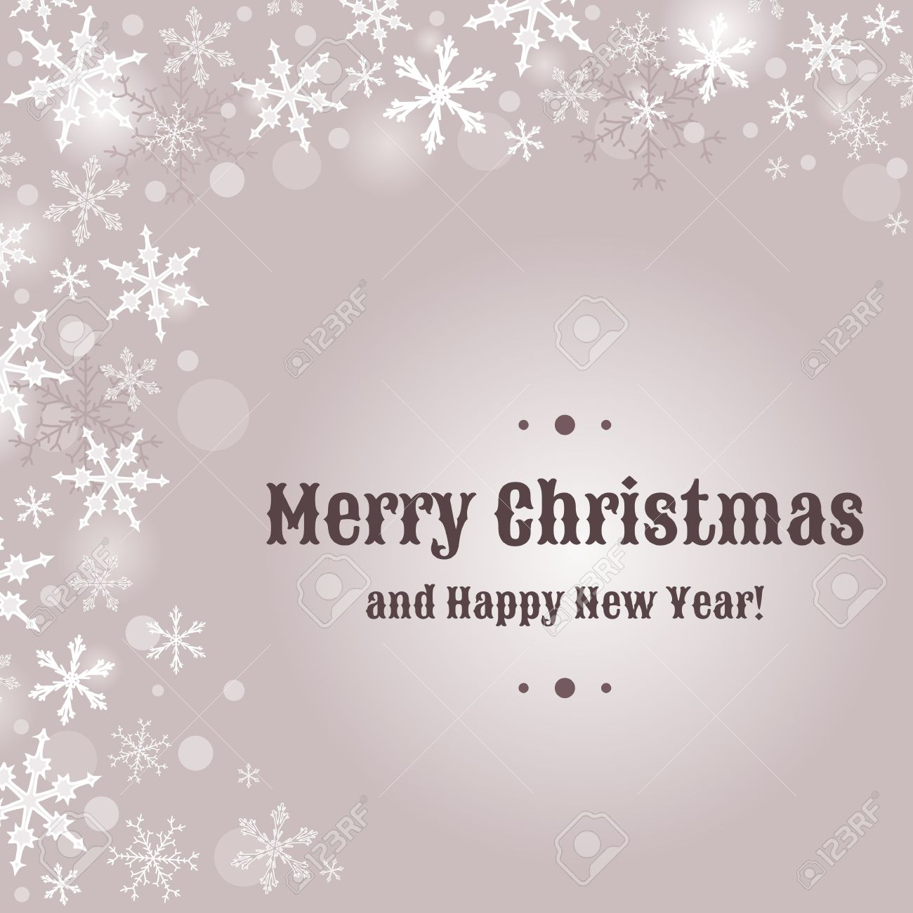 Merry Christmas Card Design With Snow Flakes Sample Text Copyspace
