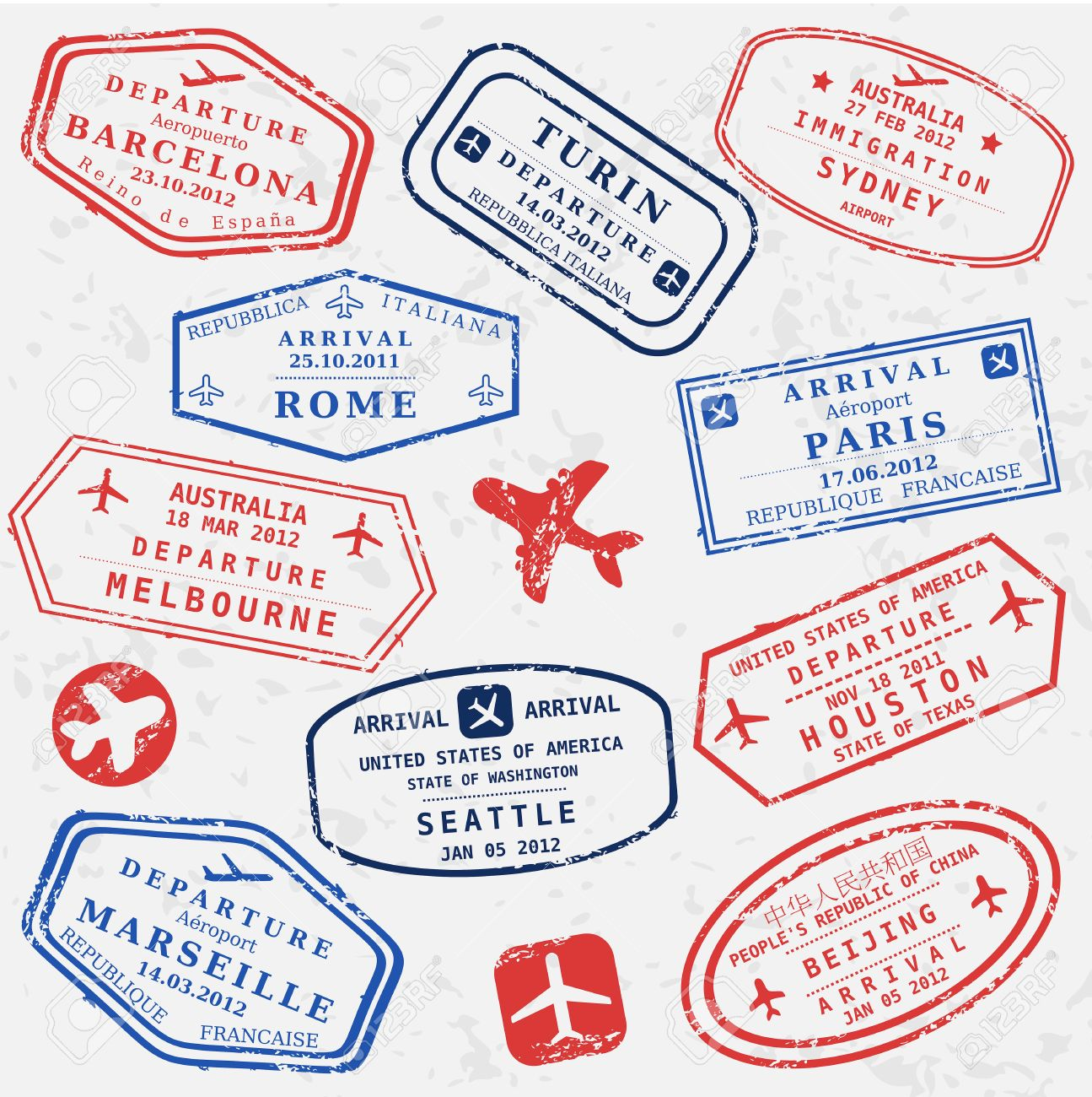 Travel stamps background. Fictitious international airport symbols. - 34231007