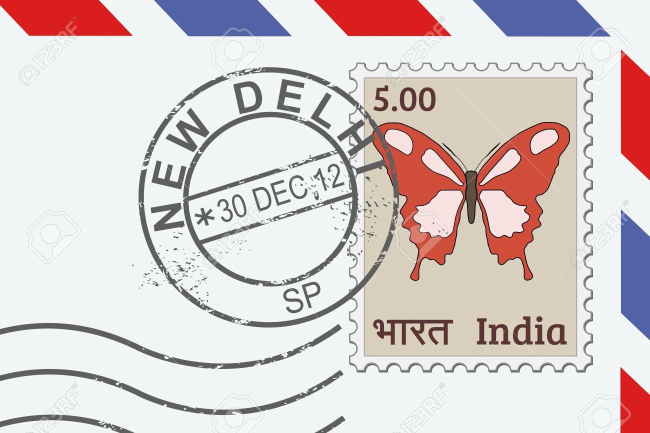 letter from india postage stamp and post mark from new delhi indian mail