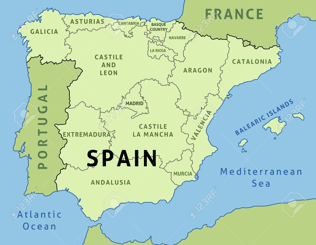 spain country map ireland map