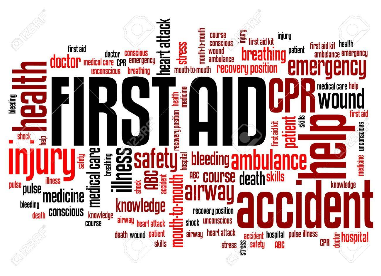 first aid health concepts word cloud illustration word collage