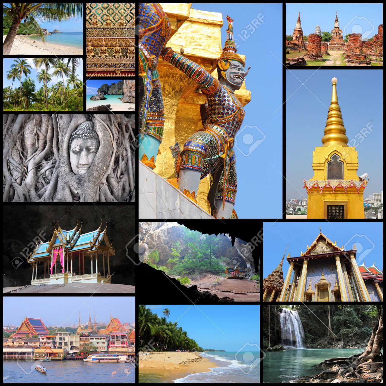 Travel Photo Collage From Thailand Includes Major Landmarks
