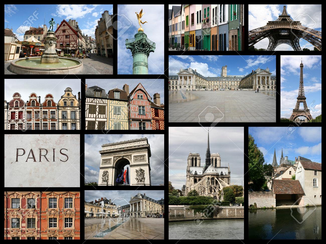 Foto Collage De Francia. Collage Incluye Lugares Famosos Como París ...