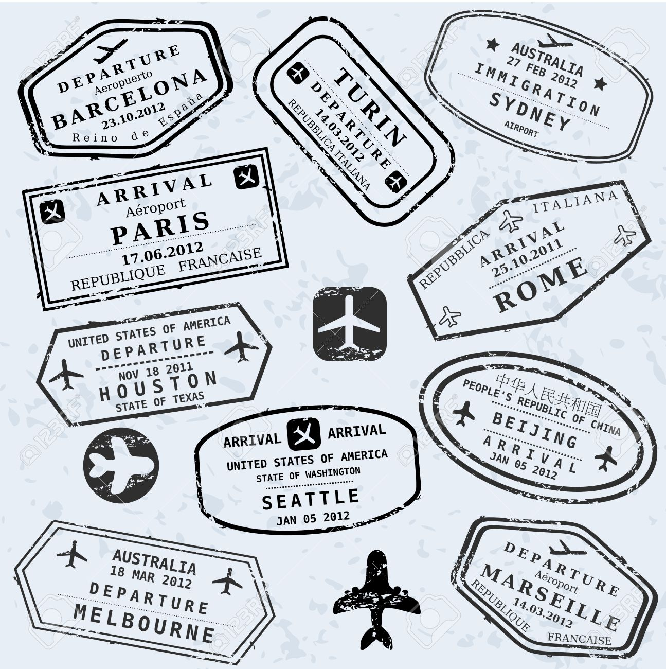 Travel stamps background. Fictitious international airport symbols. - 38402951