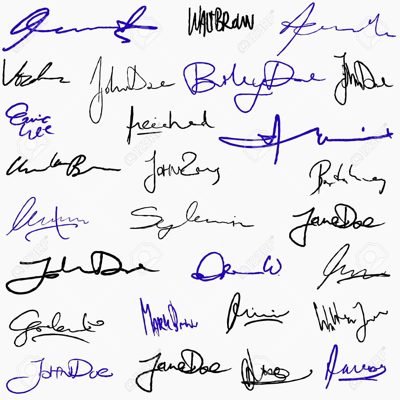 Collection Of Handwritten Signatures. Personal Contract Fictitious ...