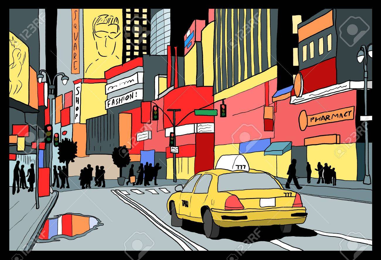 Times Square night view - New York City illustration. - 38705241