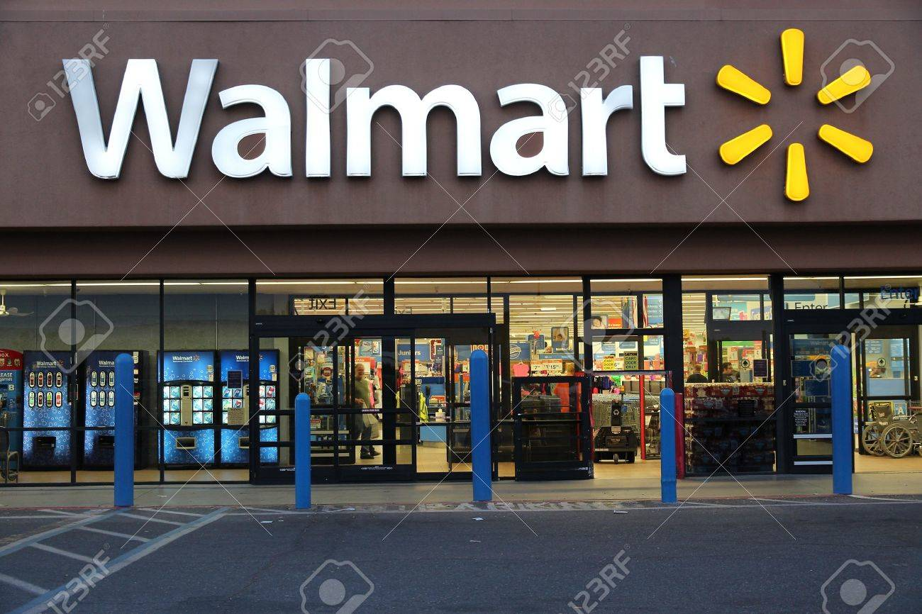 RIDGECREST, UNITED STATES - APRIL 12, 2014: Walmart store in Ridgecrest, California. Walmart is a retail corporation with 8,970 locations and revenue of US$ 469 billion (FY 2013). - 39861215