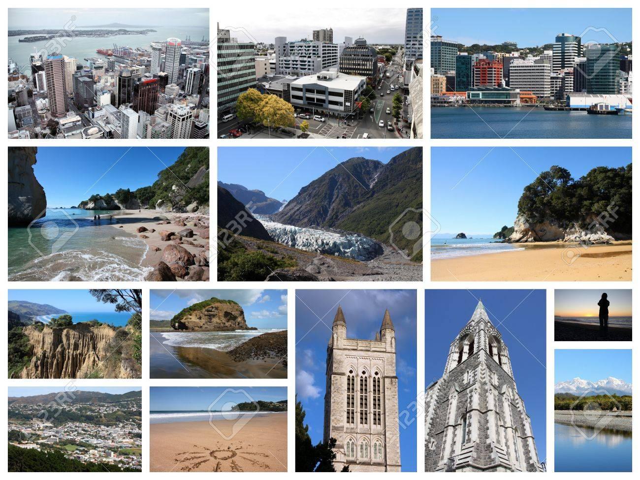 Neuseeland Sehenswurdigkeiten Reise Fotocollage Mit Auckland Wellington Christchurch Strande Und Berge Lizenzfreie Fotos Bilder Und Stock Fotografie Image 44175781